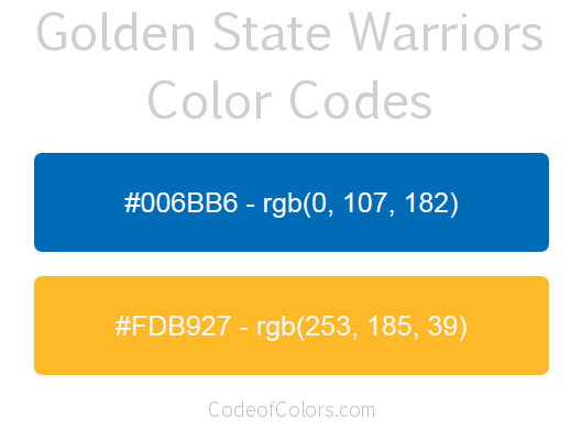 golden state warriors team color codes  nba team colors