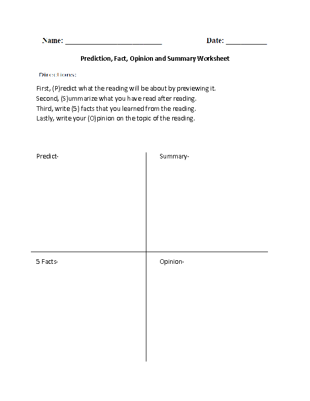 Predication Fact Or Opinion Summary Worksheet 2nd Grade