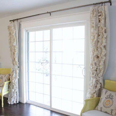 Frame Large Sliding Glass Doors With Floor Length Drapes Door