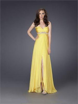 ae5240e3f3d7c Beaded Empire Waist Sweetheart Slit Yellow Chiffon Prom Dress PD10575