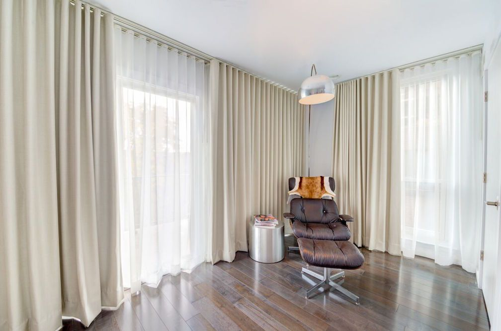 Whites beiges and neutrals meld perfectly in this - Blackout curtains for master bedroom ...