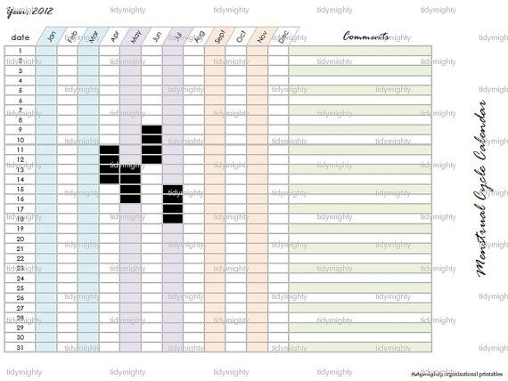 High Quality Menstrual Cycle Calendar / Tracker Printable PDF By Tidymighty