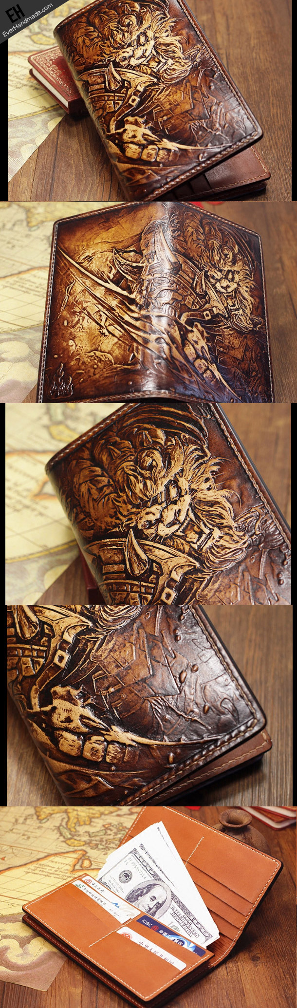 Handmade league of legends lol rengar carved leather