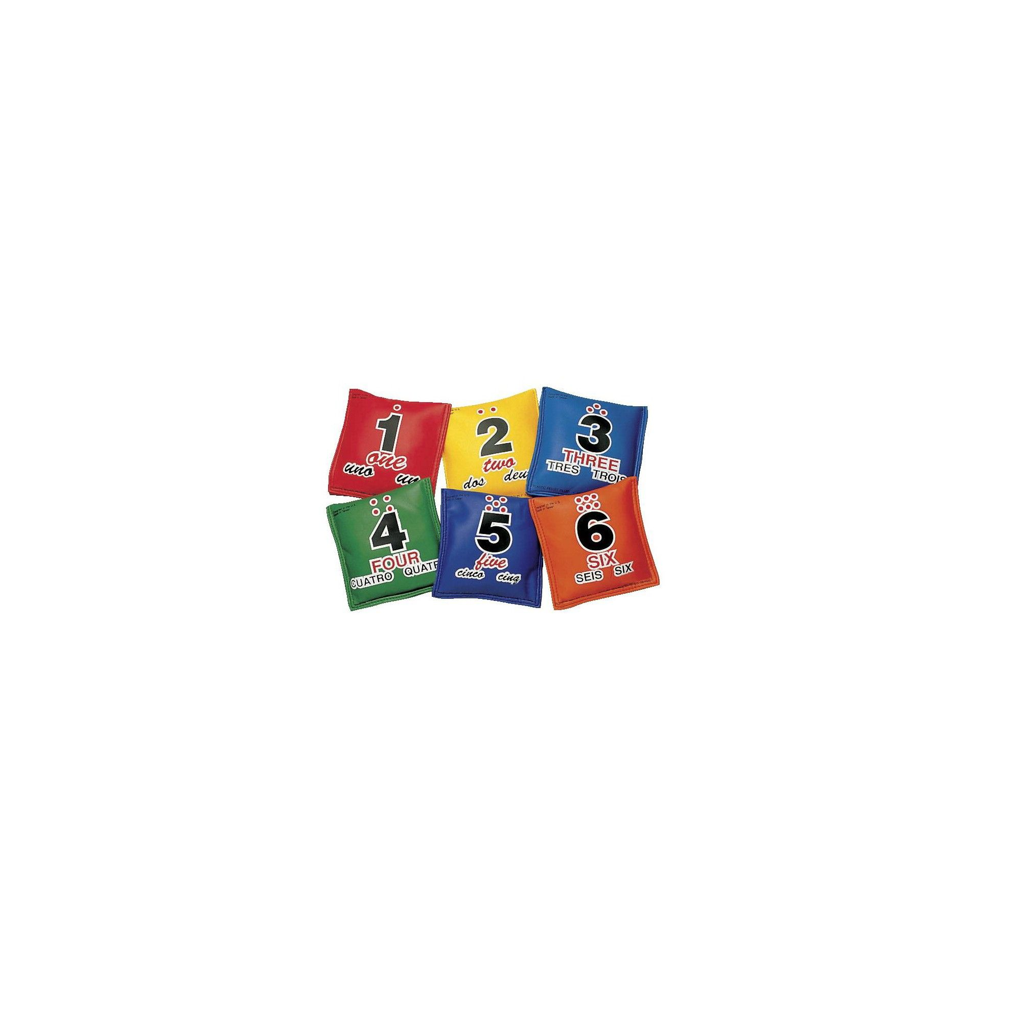 Sportime Tri-Lingual Sequencing Educational Beanbags, Assorted Colors, set of 6