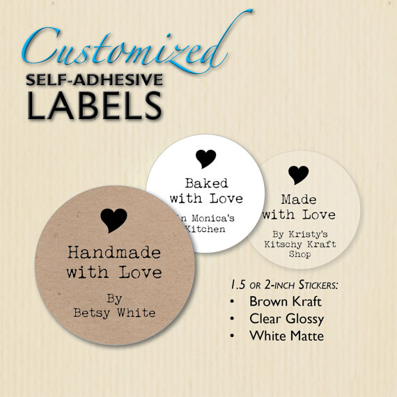 Custom Handmade with Love Stickers Clear by BestWishesBoutique