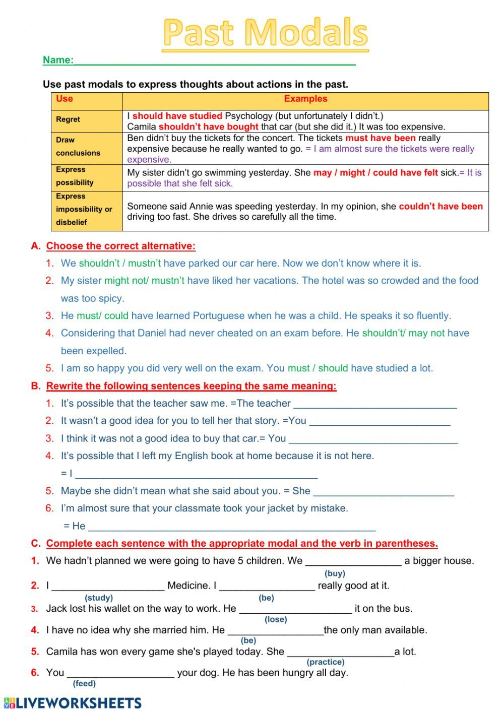 Modal Verbs Online Worksheet You Can Do The Exercises Online Or Download The Worksheet Verb Worksheets English As A Second Language English Teaching Resources