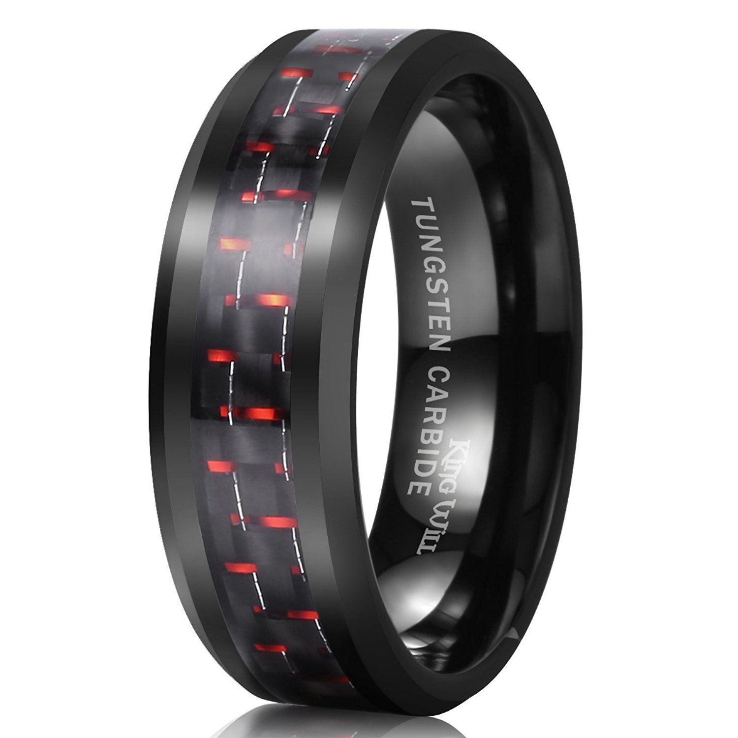 gray bright ceramic carbide triton black comfort polished fit inlay band with tungsten rings