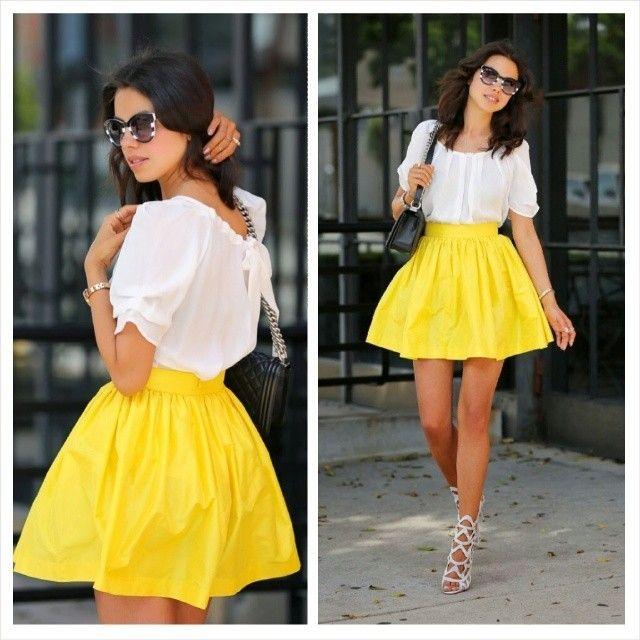 33faeec26 Falda corta amarilla | ropa | Faldas amarillas, Faldas y Ropa