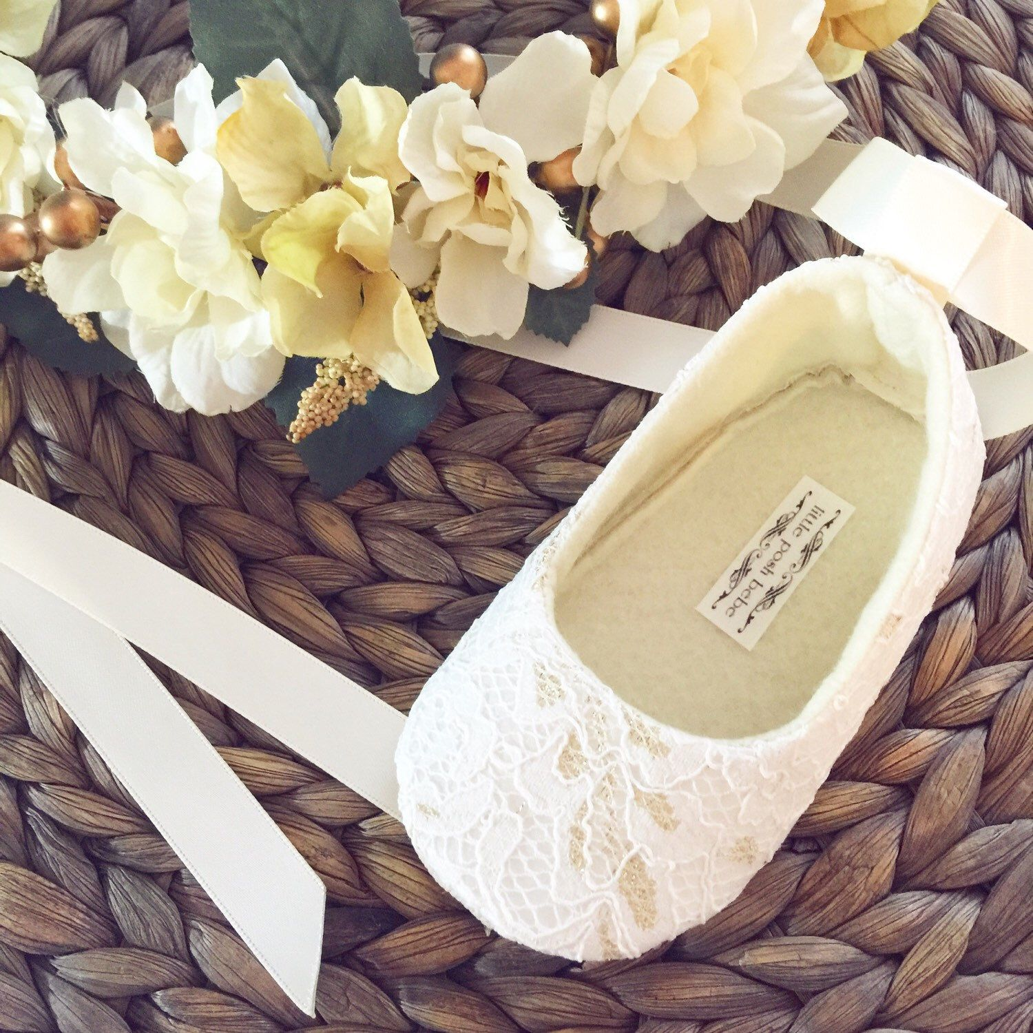 Toddler Girl Shoes Baby Girl Shoes Couture Baby Shoes Ivory Flower