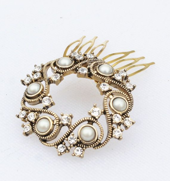 Vintage Gold Pearl Rhinestone Wreath Hair by Gener8tionsCre8tions