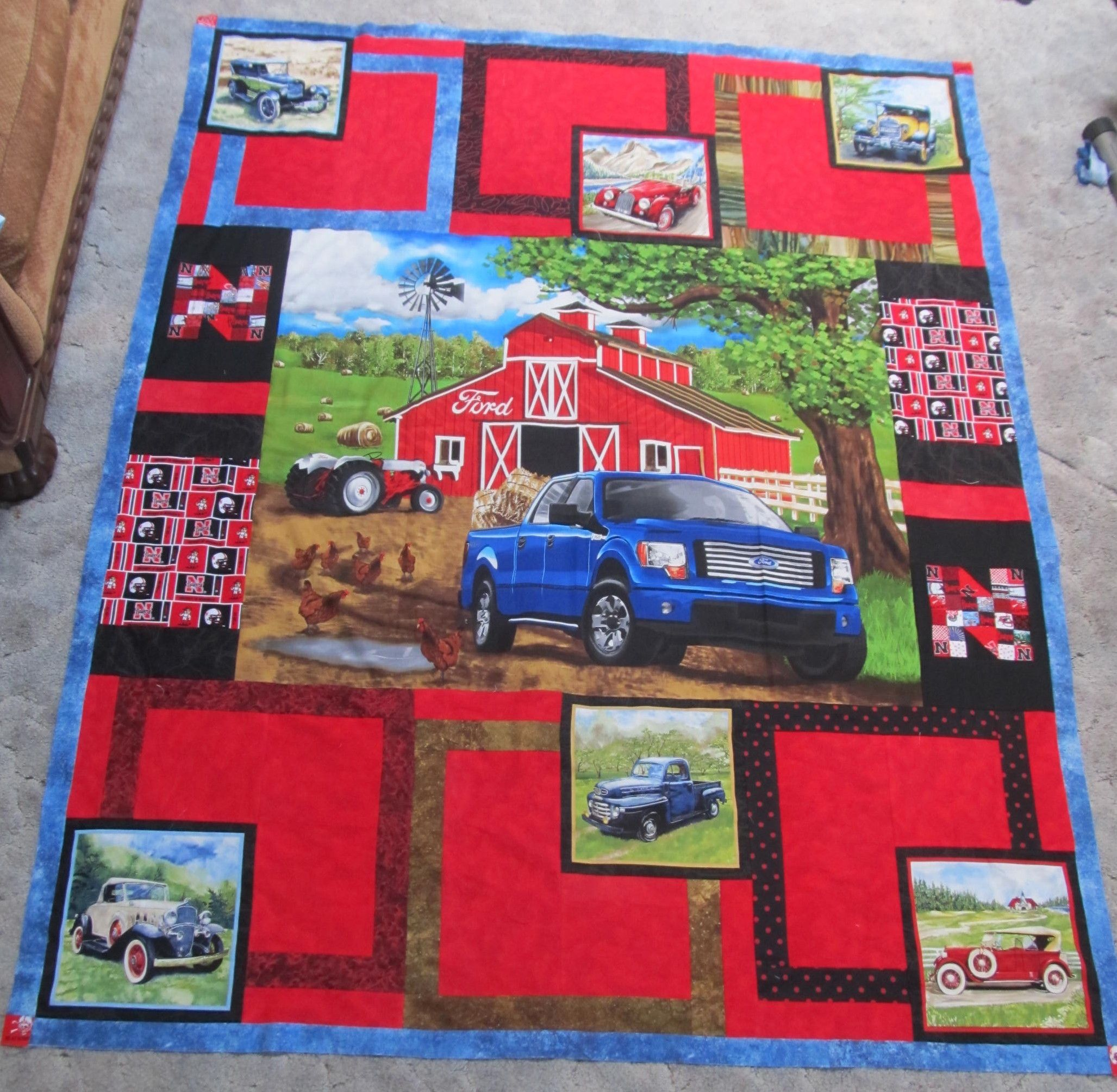 SOLD-----Fun Quilt- with Ford truck, antique cars, windmills ... : quilting items - Adamdwight.com