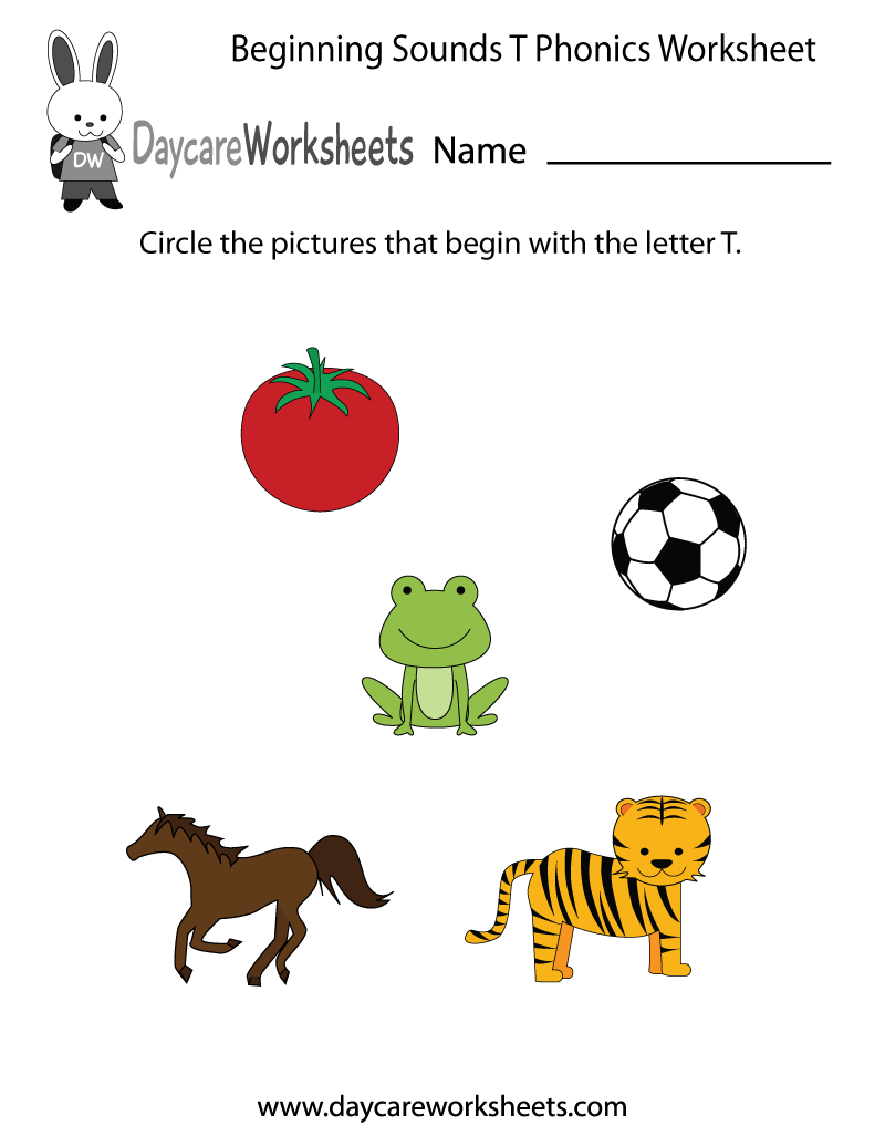 Letter t worksheets preschool - This Letter T Phonics Worksheet Helps Preschoolers Identify The Beginning Letter Of Common Objects By Sounding