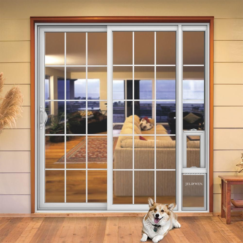 Jeld Wen 72 In X 80 In V2500 White Vinyl Prehung Left Hand 15 Lite Sliding Patio Door With Medium Pet Door Sierra Le Grd 6068 Mpdp Lh The Home Depot In 2020