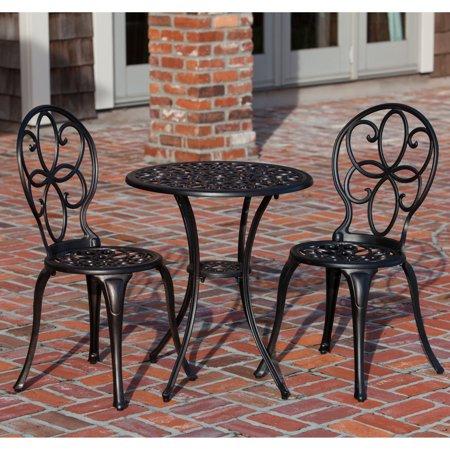 Patio Sense Antique Bronze Cast Aluminum 3 Piece Outdoor Bistro Set Walmart Com Outdoor Bistro Set Outdoor Patio Furniture Sets Patio Furnishings