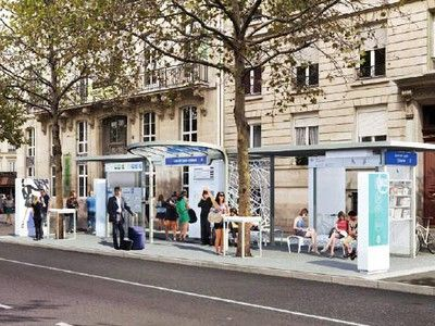 paris tests out snazzy new 39 bus stop of the future 39 future and public. Black Bedroom Furniture Sets. Home Design Ideas