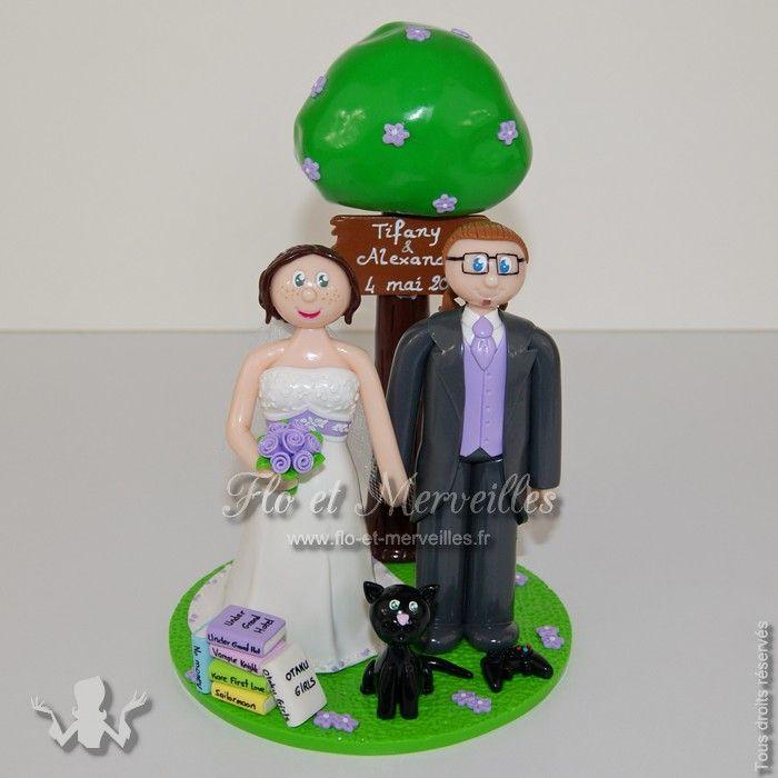 Wedding cake topper sur mesure    http://www.flo-et-merveilles.fr/