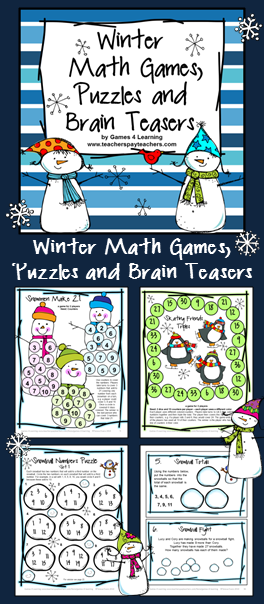 Winter Activities: Winter Math Games, Puzzles and Brain Teaser Task ...