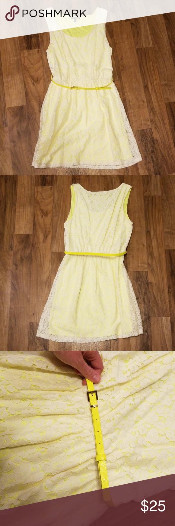 Express Yellow With White Lace Dress Lace White Dress Fashion Clothes Design [ 1740 x 580 Pixel ]