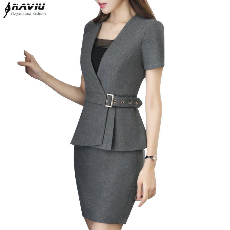 85a8233af Nueva primavera moda profesional mujer falda traje de verano elegante  formal blazer y falda Oficina señoras más uniformes de tamaño