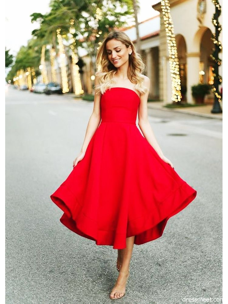9df51a223439 Charming A Line Sweetheart Red Tea Length Homecoming Dresses with Pocket,  Formal Short Red Dresses HD0716006 | Dressmeet.com
