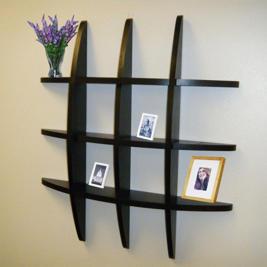 Amazing Elegant Design Of Living Room Wall Shelves: Wonderful Living Room Wall  Shelves With Black Wooden