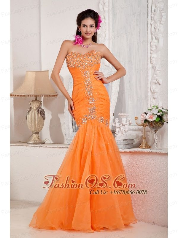 1cd85c07282a Fashionable Orange Prom Dress Mermaid Sweetheart Organza Beading Floor- length http://www