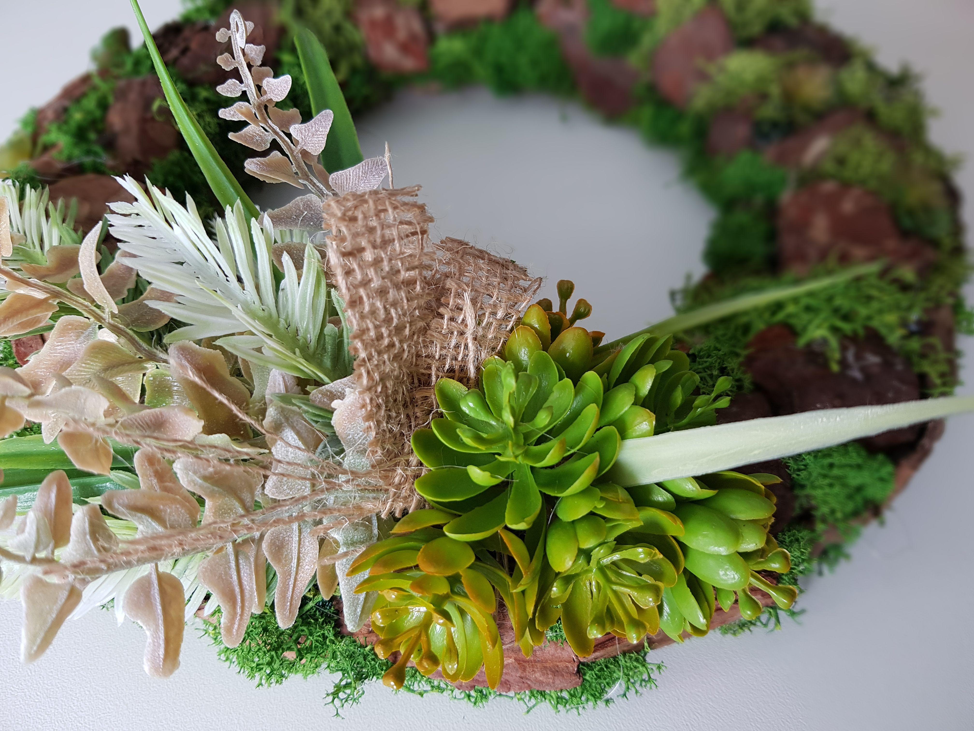 Wianek Stroik Z Sukulentow I Kory 27 Cm 8326019270 Oficjalne Archiwum Allegro Plants