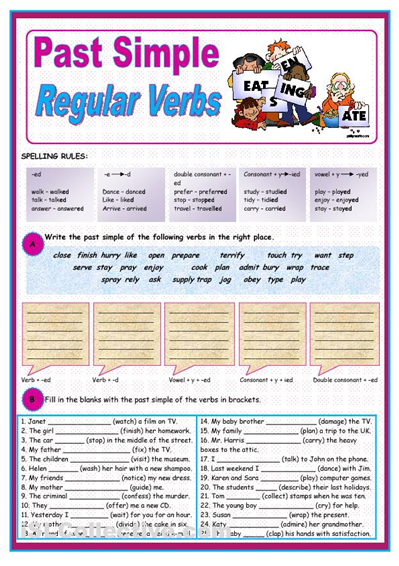 Exercise On Simple Past Regular Verbs Grammar Pinterest