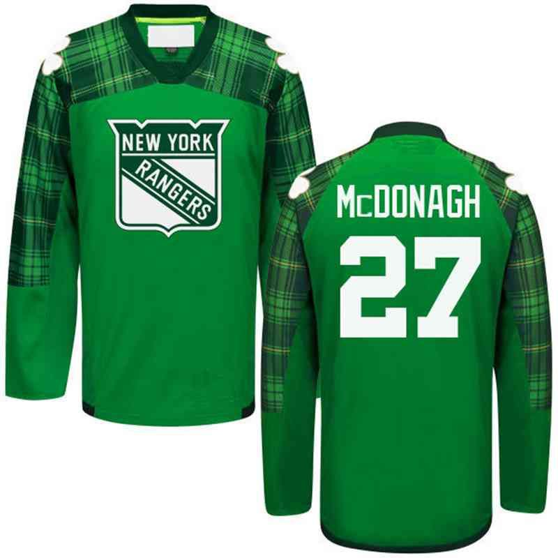 Men s New York Rangers  27 Ryan McDonagh Green St. Patrick s Day Jersey 6753a1ee0