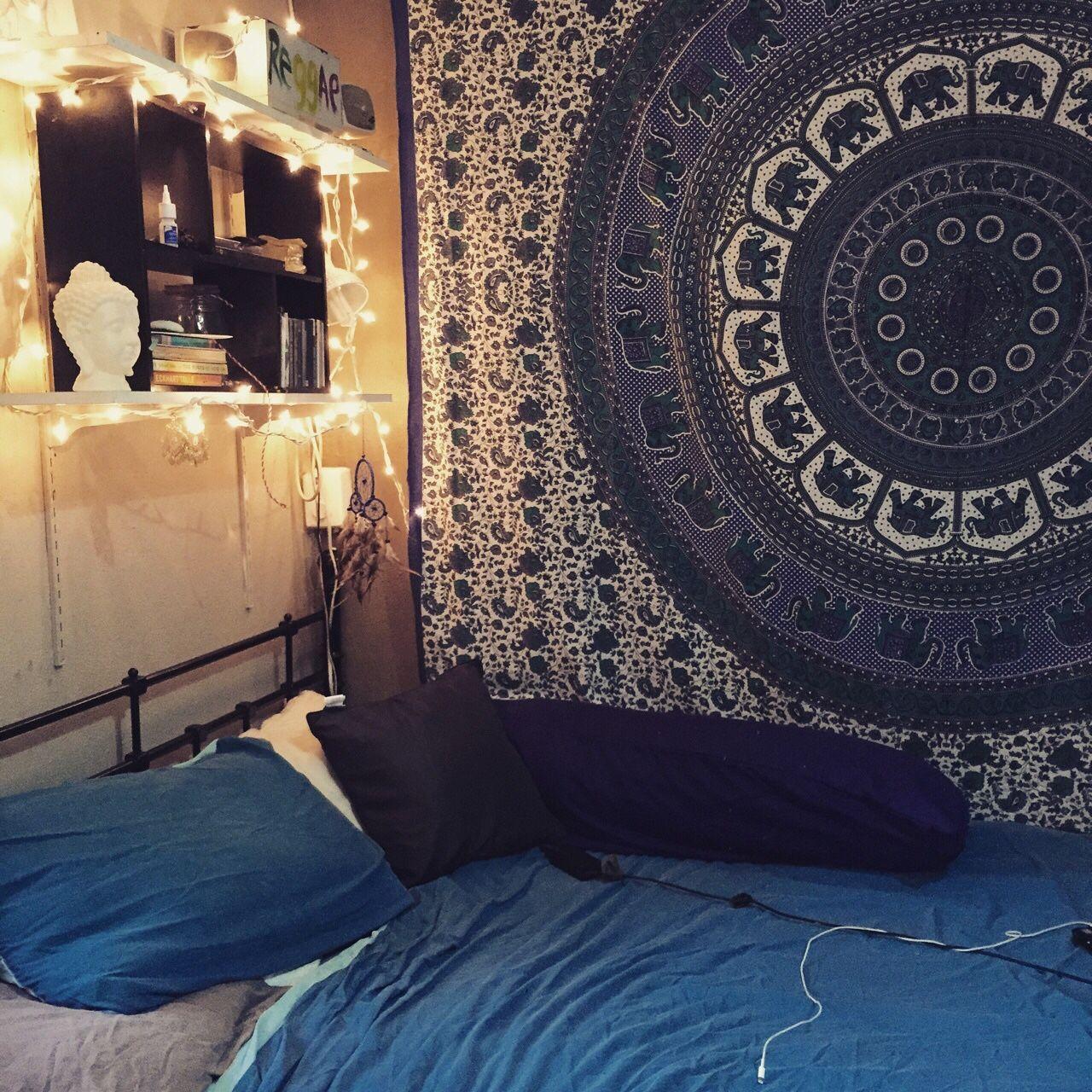 White Red Indian Elephant Mandala Hippie Tapestry