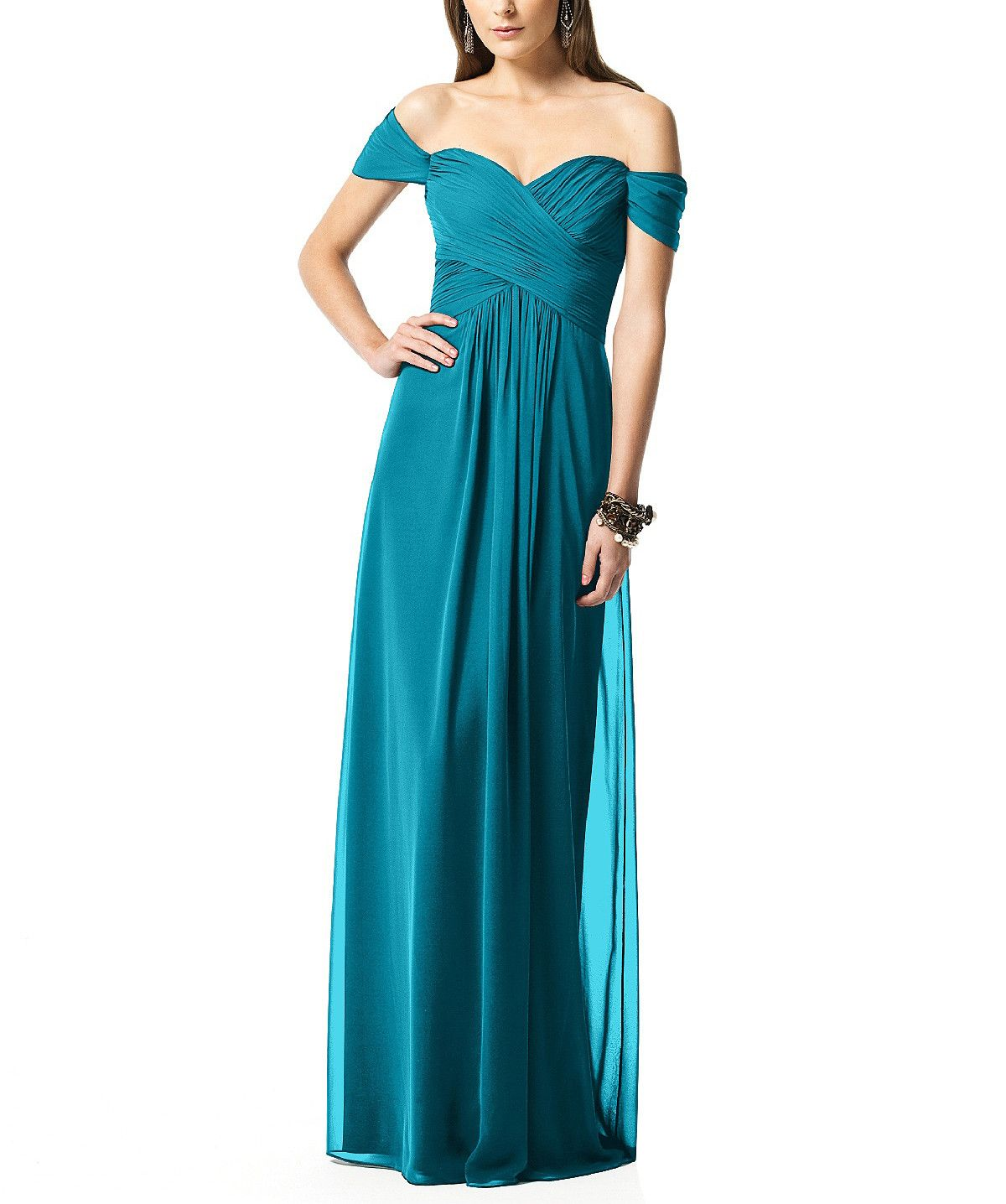 DescriptionDessy Collection 2844Full�length bridesmaid dressOff the shoulder sweetheart necklineCrisscross ruched bodiceShirred skirtLux chiffon�