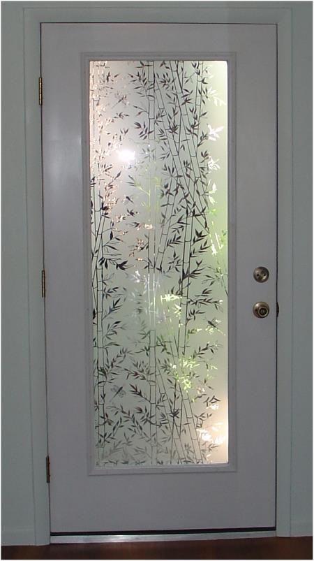 Decorative Bamboo Semi Privacy Static Cling Door Glass Design Decorative Window Film Door Design