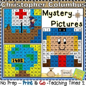 Hundreds Chart Mystery Picture 41: Columbus Day Hundreds Chart Hidden Pictures | Hidden pictures ,Chart