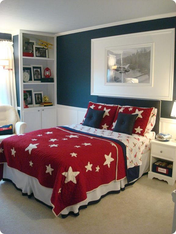 LOVE all of her ideas for a big boy room redo...yellow, navy, red ...