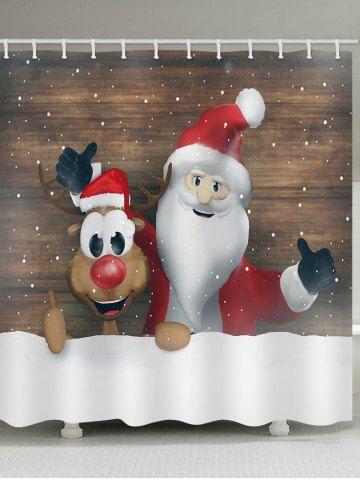 Christmas Santa Claus Elk Wood Grain Print Waterproof Bathroom Shower Curtain