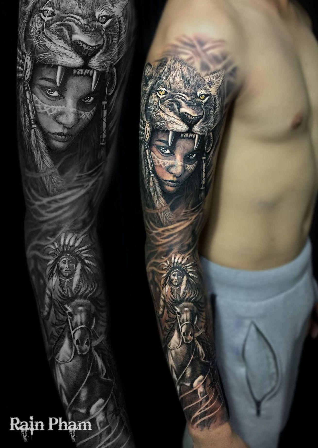e74485438d1c8 Native indian tattoo sleeve 215 | tattoo | Native indian tattoos ...