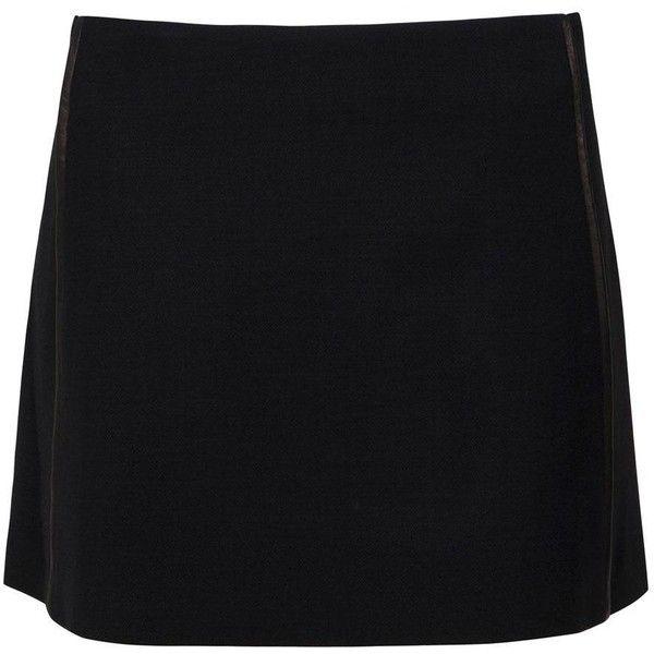 THE ROW Estabrook Miniskirt ($252) ❤ liked on Polyvore featuring skirts, mini skirts, bottoms, black, saia, women, wool skirt, short skirts, black wool skirt and black skirt