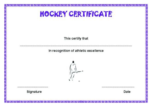 Hockey Certificate Template Hockey Certificate Templates