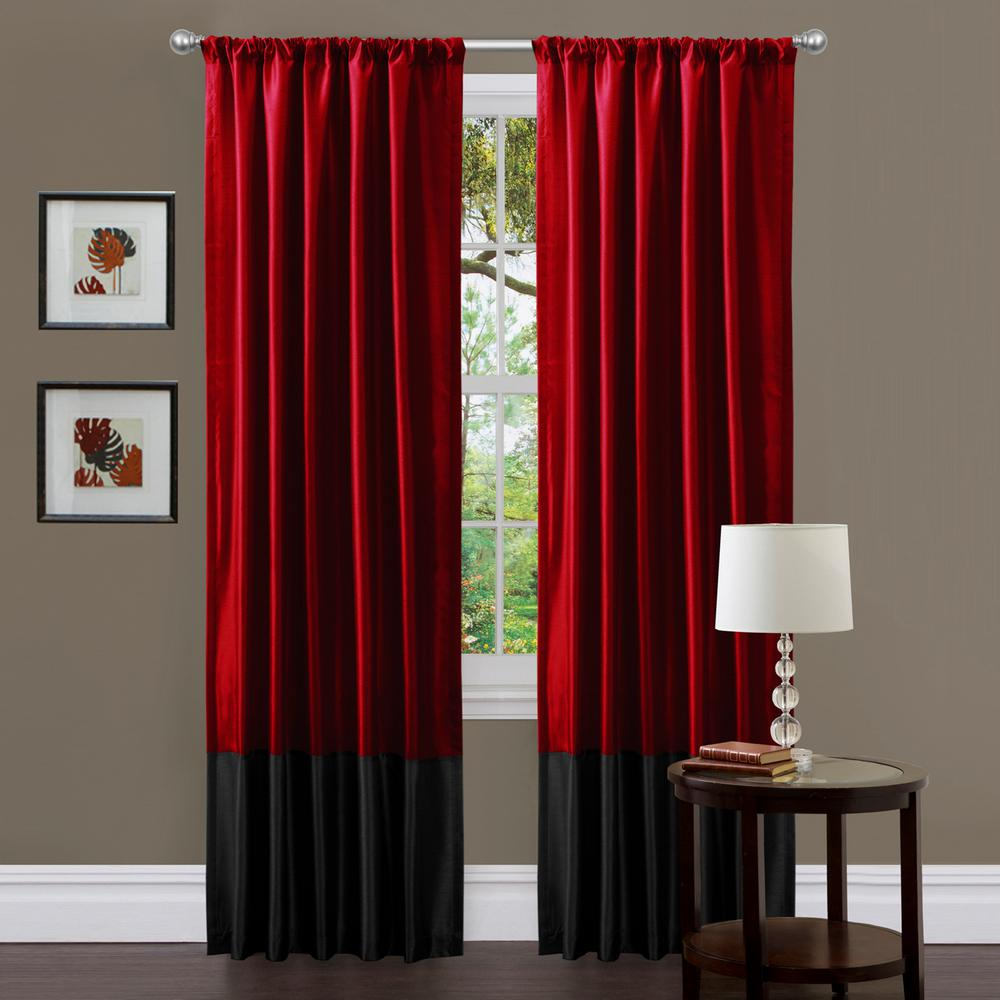 Lush Decor Milione Window Panel In Red 84 In L X 42 In W 2 Piece A00752q12 The Home Depot Red Curtains Living Room Red And Black Curtains Curtains Living Room