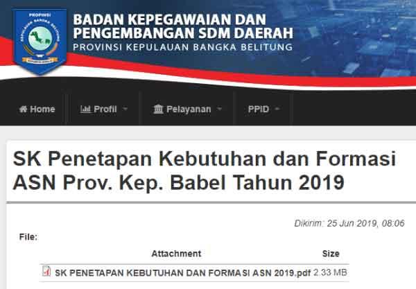 Usulan Kebutuhan Dan Formasi Asn Provinsi Bangka Belitung Sebanyak 1951 Formasi Belajar Pulau Bangka Tanggal