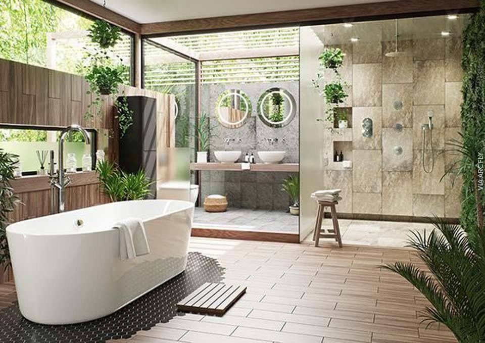 Pin By Elsa Vaz On Salle De Bain Outdoor Bathroom Design Spa Bathroom Design Zen Bathroom Design