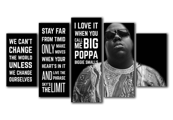 5 Panels Biggie Small Big Poppa Quotes Printed Canvas Wall Art