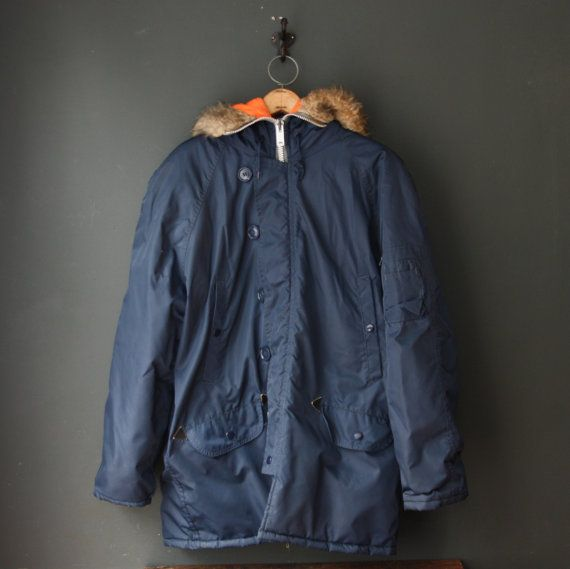70s Sears Parka / Navy Blue w/ Orange lining Snorkel Parka | 1970s ...