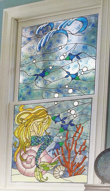 Weeping Mermaid Faux Stained Glass Window Film Colorful