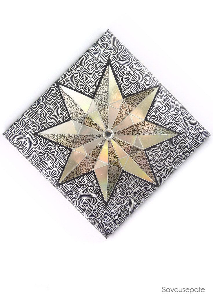 LARS decorative canvas | Black, silver and iridescent nautical star with eight points (recycled CD on canvas) | Home decor by Savousepate - pinned by pin4etsy.com #upcycling #recycling #handmade