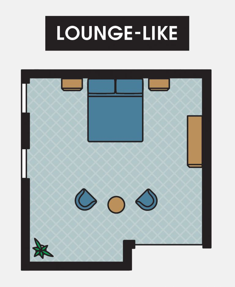 If your room has ample space, consider creating a lounge-like atmosphere. To create a separate space for daytime relaxation in your bedroom, situate two lounge chairs across from the foot of the bed with a side table in between them. If you have a particularly large amount of space to work with, consider a small sofa with a coffee table in front of it. Keep the rest of the bedroom as you would in a conventional space, anchored by a bed between two nightstands. Rather than situating the…