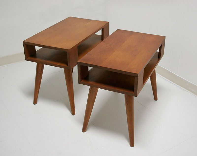 1950s 1960s Vintage Mid Century Modern Blond Conant Ball End Tables