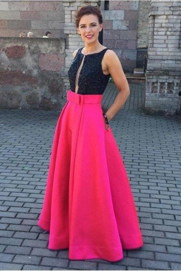 0bc72dfecbbb4a Black Top Red Skirt Long Satin Beading A-line Pretty Party Dresses ...