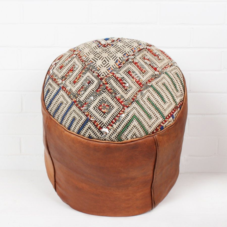 Bohemia Home Moroccan Drum Pouffe Oiled With Kilim And Sequins
