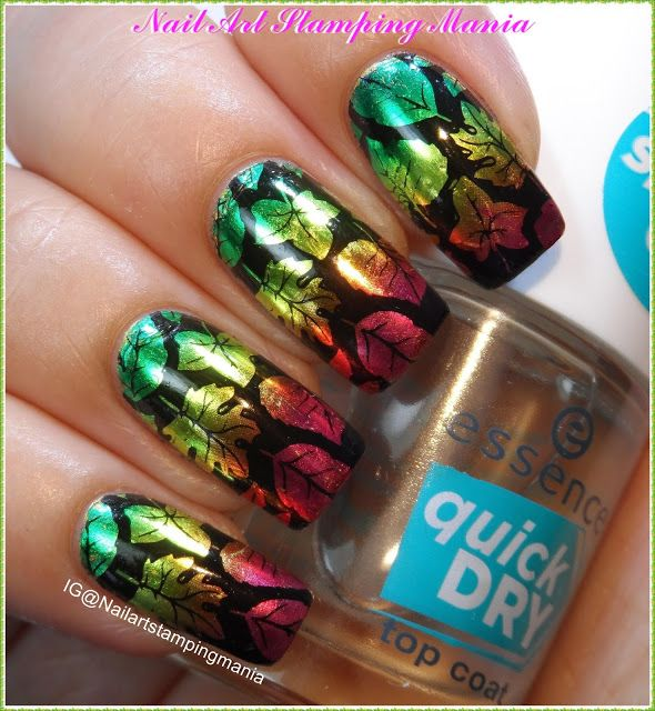Nail Art Stamping Mania: Fall Manicure with Nail Foil and UberChic ...